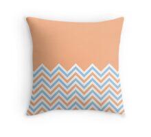 Peach & Sky Blue Chevrons Throw Pillow