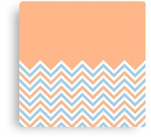 Peach & Sky Blue Chevrons Canvas Print