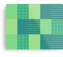 Patchwork Patterns - Seafoam Green Metal Print