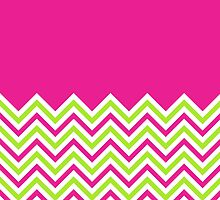Hot Pink & Lime Green Chevrons by ImageNugget