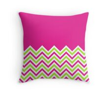 Hot Pink & Lime Green Chevrons Throw Pillow