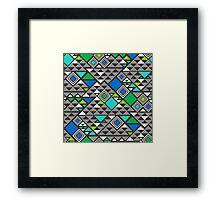 Squares &Triangles in Blue Green Framed Print