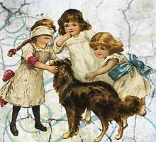 Victorian Children Playing Hide Seek With Dog by designsbycclair