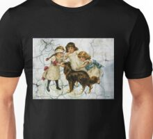 Victorian Children Playing Hide Seek With Dog Unisex T-Shirt