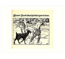The Wonder Clock Howard Pyle 1915 0189 Master Jacob Takes His Black Goat to Town Art Print