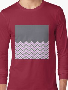 Cool Grey & Pink Chevrons Long Sleeve T-Shirt