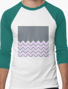 Cool Grey & Pink Chevrons Men's Baseball ¾ T-Shirt
