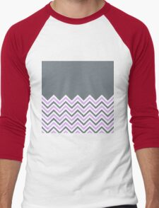 Cool Grey & Pink Chevrons Men's Baseball ¾ T-Shirt