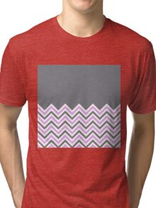 Cool Grey & Pink Chevrons Tri-blend T-Shirt