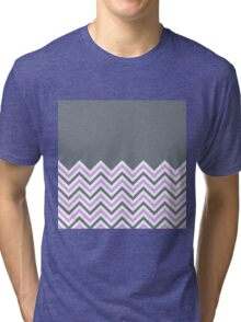 Cool Grey & Pink Chevrons Tri-blend T-Shirt