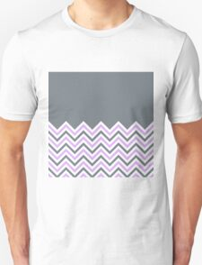 Cool Grey & Pink Chevrons Unisex T-Shirt