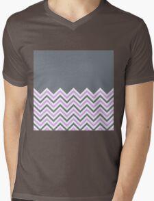 Cool Grey & Pink Chevrons Mens V-Neck T-Shirt