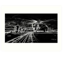MH-60R Seahawk Helicopter Silhouette Art Print