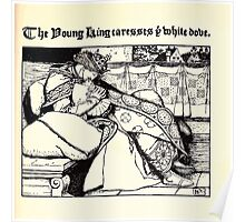The Wonder Clock Howard Pyle 1915 0181 The King Caresses White Dove Poster
