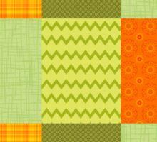 Patchwork Patterns - Orange and Olive Sticker