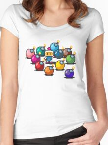 Bomberman Rainbow Bomb Set pixel art by PXLFLX Women's Fitted Scoop T-Shirt