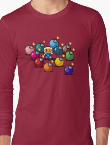 Bomberman Rainbow Bomb Set pixel art by PXLFLX Long Sleeve T-Shirt