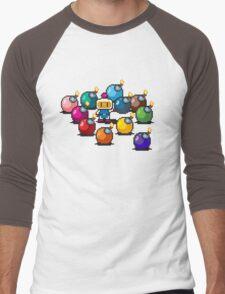 Bomberman Rainbow Bomb Set pixel art by PXLFLX Men's Baseball ¾ T-Shirt