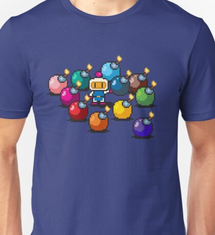 Bomberman Rainbow Bomb Set pixel art by PXLFLX Unisex T-Shirt