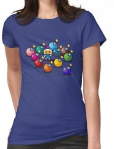 Bomberman Rainbow Bomb Set pixel art by PXLFLX Womens Fitted T-Shirt