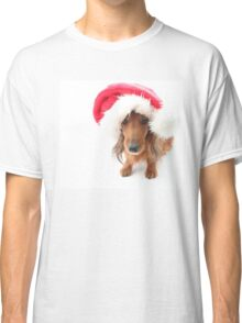 Sweet red-haired dachshund wearing Santa hat for Christmas Classic T-Shirt