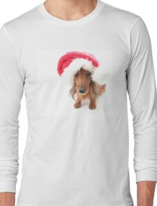 Sweet red-haired dachshund wearing Santa hat for Christmas Long Sleeve T-Shirt
