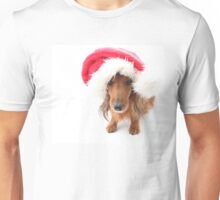 Sweet red-haired dachshund wearing Santa hat for Christmas Unisex T-Shirt