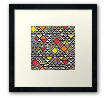 Squares &Triangles in Red Orange Framed Print