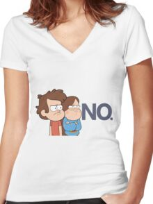 Gravity Falls - NO. Women's Fitted V-Neck T-Shirt