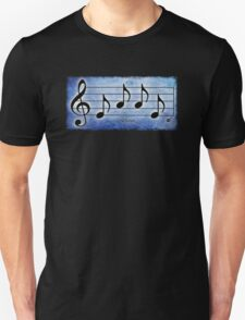LOVE - Words in Music Blue Background - V-Note Creations T-Shirt