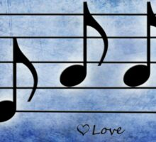 LOVE - Words in Music Blue Background - V-Note Creations Sticker