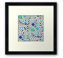 Squares &Triangles in Blue Mint Framed Print