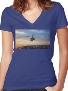MH-60S Seahawk Helicopter Women's Fitted V-Neck T-Shirt