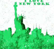 I LOVE NEW YORK - Color Green by bill holkham