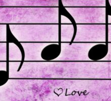 LOVE - Words in Music Fuchsia Pink Background - V-Note Creations Sticker
