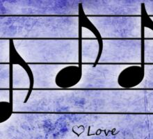 LOVE - Words in Music Purple Background - V-Note Creations Sticker