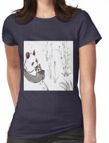 Panda Sumi-e  Womens Fitted T-Shirt