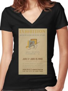 WPA United States Government Work Project Administration Poster 0665 Metropolitan Museum of Art Exhibition Art Teaching New York City Women's Fitted V-Neck T-Shirt