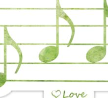 LOVE - Words in Music - Blue -  V-Note Creations Sticker
