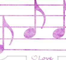LOVE - Words in Music - Fuchsia Pink -  V-Note Creations Sticker
