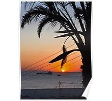Sunset in Mykonos, Greece Poster