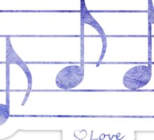 LOVE - Words in Music - Purple -  V-Note Creations Sticker