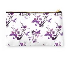 Inked Wild Rose Motif Studio Pouch