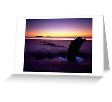 The Helvetia and Worms Head - Rhossili Bay on the Gower, Wales Greeting Card