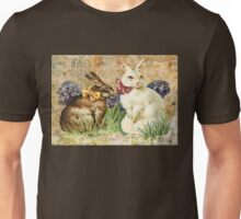 Victorian Easter Bunnies Rabbits In Grass Unisex T-Shirt