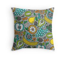 Fruit Cocktail in Gray Throw Pillow