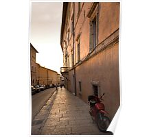 Moped in street at sundown in Assisi Poster