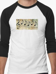 PAGAN - Words in Music Earth Tones Background - V-Note Creations Men's Baseball ¾ T-Shirt