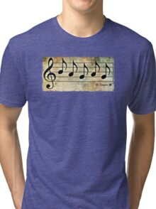 PAGAN - Words in Music Earth Tones Background - V-Note Creations Tri-blend T-Shirt