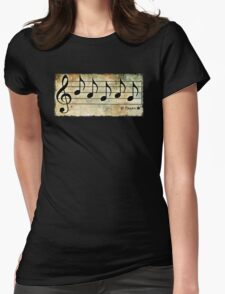 PAGAN - Words in Music Earth Tones Background - V-Note Creations Womens Fitted T-Shirt